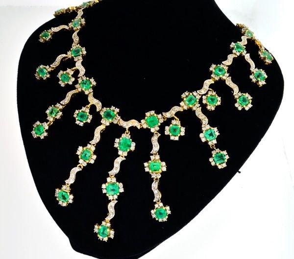 APP: 86k 18kt Gold, 19.02CT Emerald & Diamond Necklace