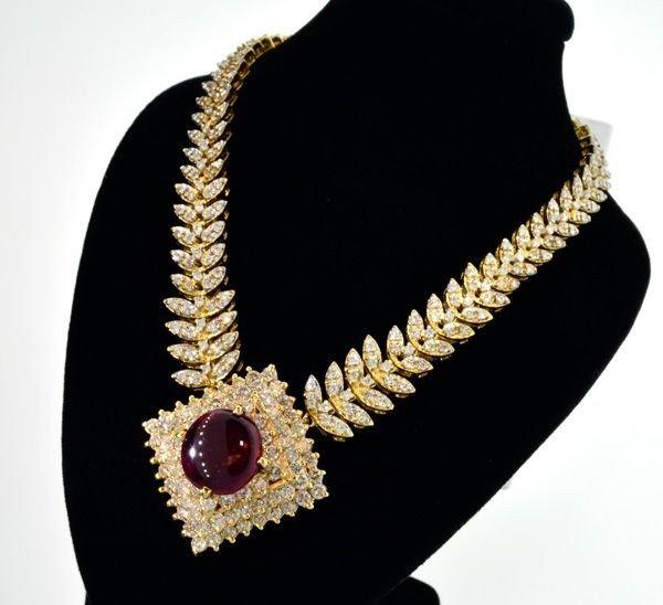 APP: 36.3k 14 kt. Gold, 7.90CT Ruby & Diamond Necklace