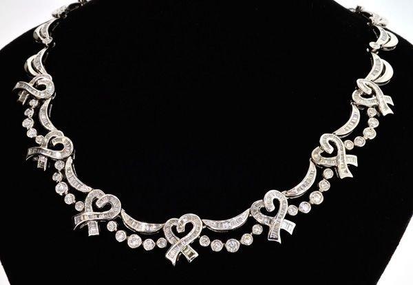 APP: 51.6k 18 kt. White Gold, 6.68CT Diamond Necklace