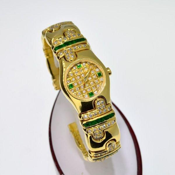 APP: 37k 18kt Gold Diam/Emer Lalanne Swiss Quartz Watch