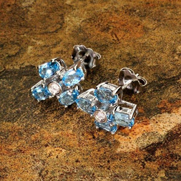 14 kt. White Gold, 2.22CT Blue Topaz & Diamond Earrings