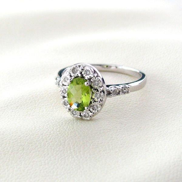 APP: 1k 18kt Gold, Peridot w/Diamond Silver Ring