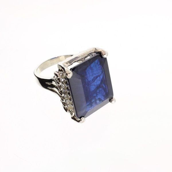 APP: 17.9k 28.62CT Blue Sapphire & Sterling Silver Ring