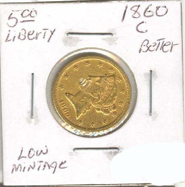 1860C $5 1 US Gold XF+