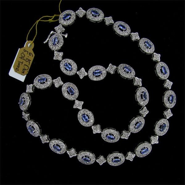 APP: 19k 5CT 14kt White Gold Tanzanite Diamond Necklace
