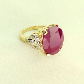APP: 11k 14 kt. Yellow & White Gold, 11.57CT Ruby Ring