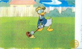 Disney Cel, Donald Duck Playing Golf w/Certificate