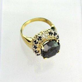APP: 17k 14kt Gold, 7k Diamond & Black Tourmaline Ring