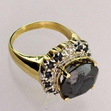 APP: 19k 14kt Gold, 9k Diamond & Black Tourmaline Ring