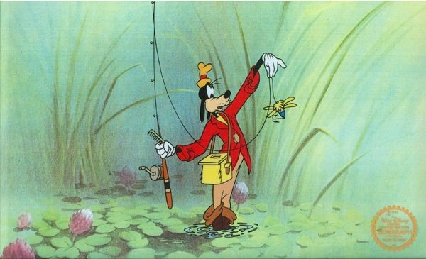 Disney Cel, Goofy How To Fish at Swamp w/Certificate