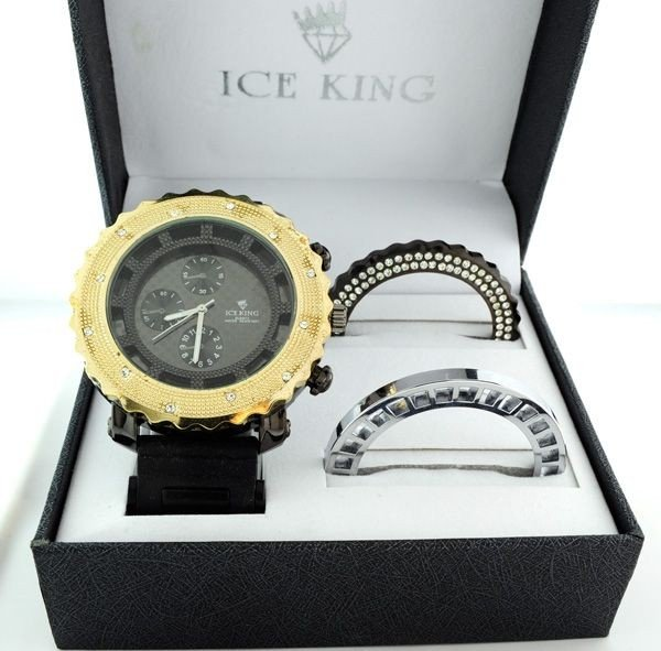 Ice King Blk/Gold (Water Resistant) Men's Watch Set