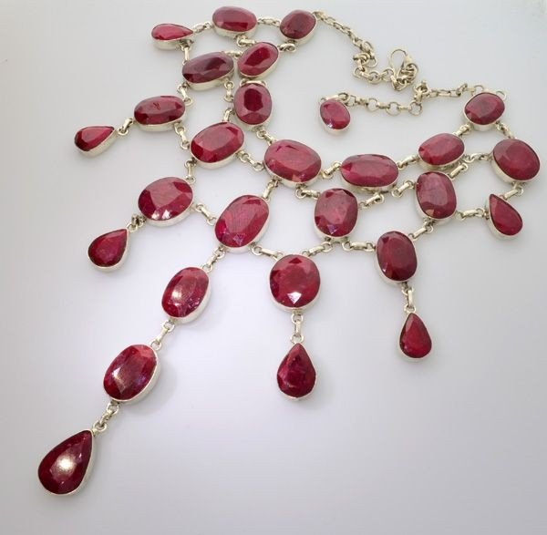 APP: 57.2k 411.67CT Ruby & Sterling Silver Necklace