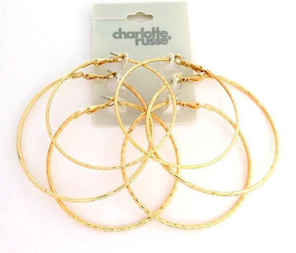 Charlotte Russe - 3 Different (gold color) Earrings Set