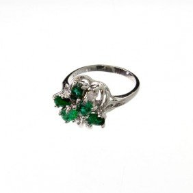 APP: 1.7k 1.17CT Emerald & Sterling Silver Ring