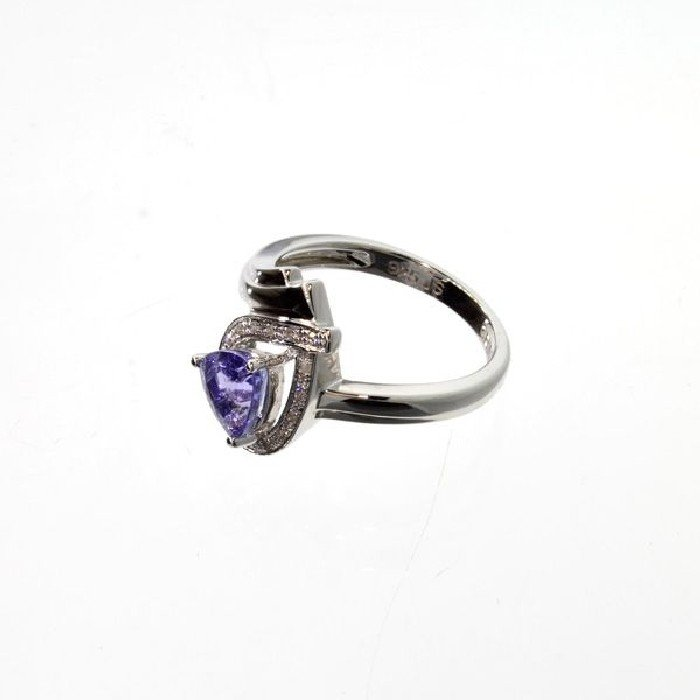 APP: 3k 3CT Tanzanite & Diamond Overlaid Silver Ring