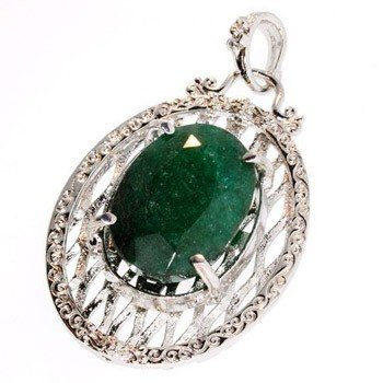 APP: 3.5k 39.32CT Emerald & Sterling Silver Pendant