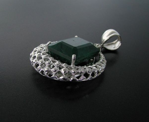 APP: 22.5k 68.21CT Emerald & Sterling Silver Pendant