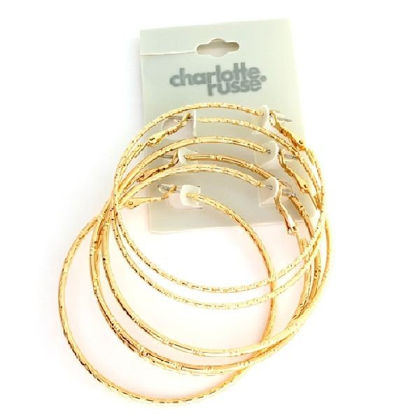 Charlotte Russe - 3 Different (gold) Large Earrings Set