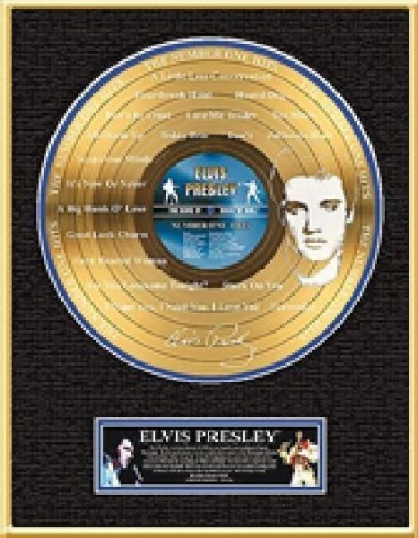 """ELVIS PRESLEY """"The Number One Hits"""" Etched Gold LP"""