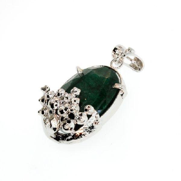 APP: 5k 50.46CT Emerald & Sterling Silver Pendant