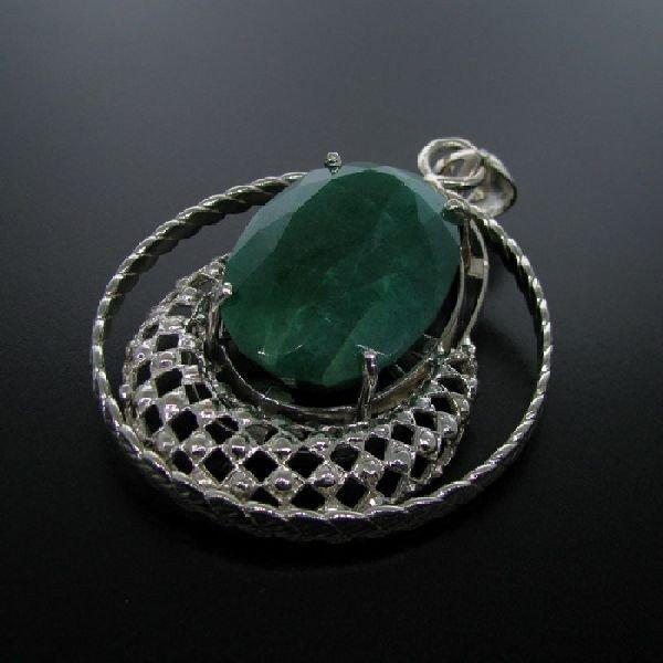 APP: 24.5k 139.60CT Emerald & Sterling Silver Pendant