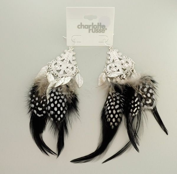 Charlotte Russe - 1 Pair Black & White Feather Earrings