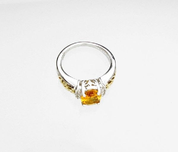 14kt Gold, 1CT Citrine & Overlaid Silver Ring