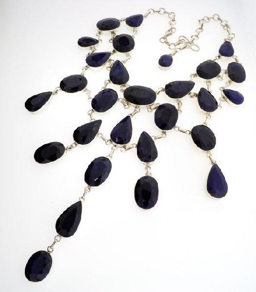 APP: 52k 384CTBlue Sapphire & Sterling Silver Necklace