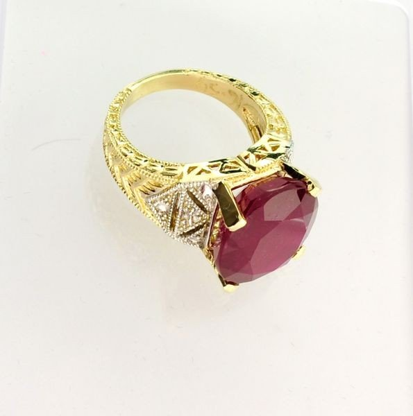 APP: 15.9k 14kt Yellow & White Gold, 16.54CT Ruby Ring