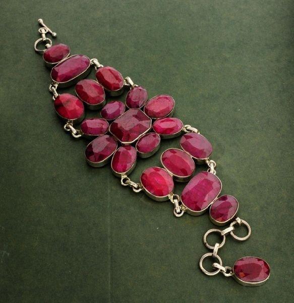 APP: 31.6k 187.52CT Ruby & Sterling Silver Bracelet