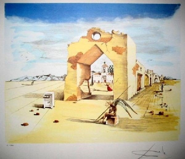 SALVADOR DALI Paranoic Village Print, Limited Edition