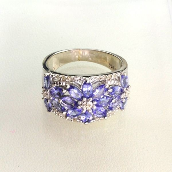 APP: 2k 1CT Tanzanite & Diamond Overlaid Silver Ring