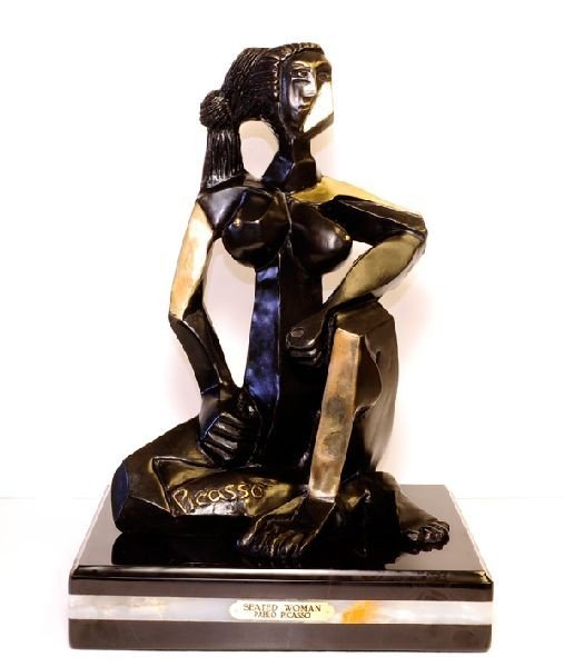Seated Woman (Inspired By) Pablo Picasso Bronze