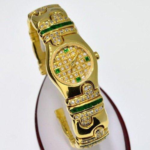 APP: 37k 18kt Gold, 1CT Diam & Emer Lalanne Swiss Watch