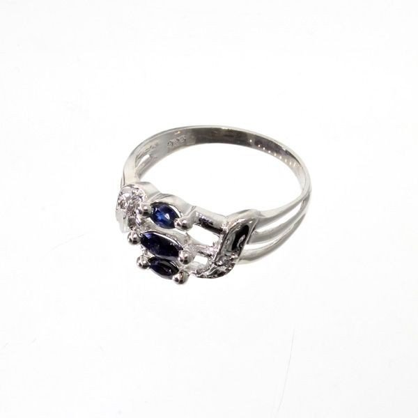 APP: 0.7k 0.46CT Blue Sapphire & Sterling Silver Ring