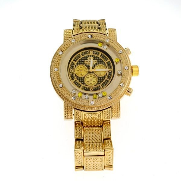 ICE MASTER- (Golden Color w/Multi Gems) Men's Watch
