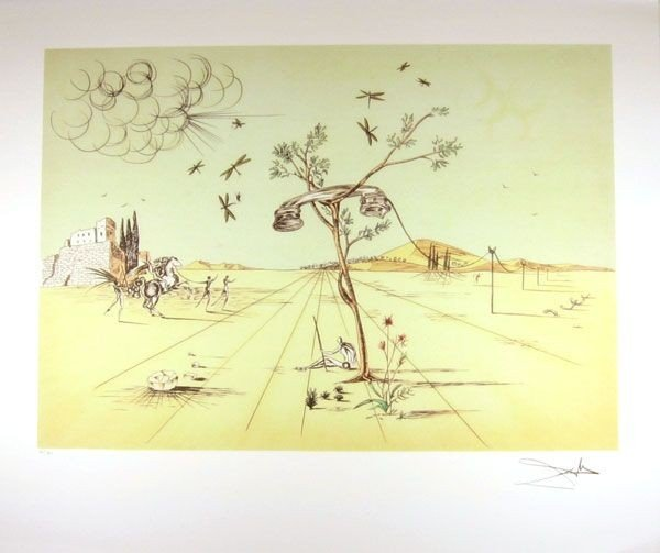 SALVADOR DALI Telephone Print, Limited Edition