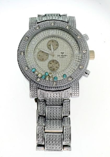 ICE MASTER Silver Color, w/Multi Color Gems Men's Watch