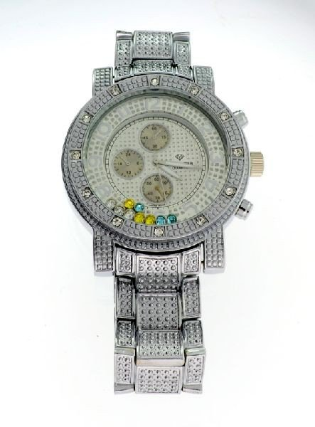 ICE MASTER Silver Color w/Multi Color Gems Men's Watch