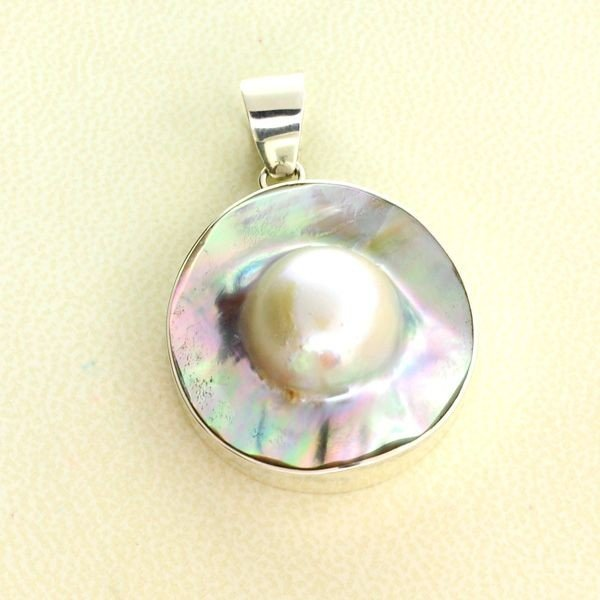 APP: 0.7k 15.56 MM Mabe Pearl & Sterling Silver Pendant