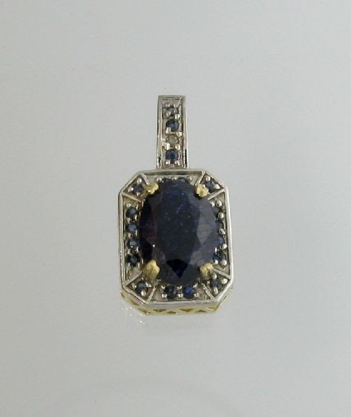 APP: 6k 14 kt. Gold, 10.48CT Blue Sapphire Pendant