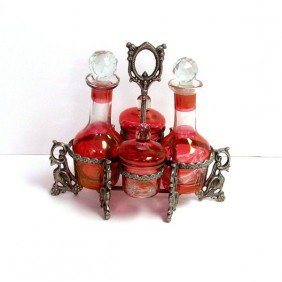4 Piece Condiment Set W/Stand