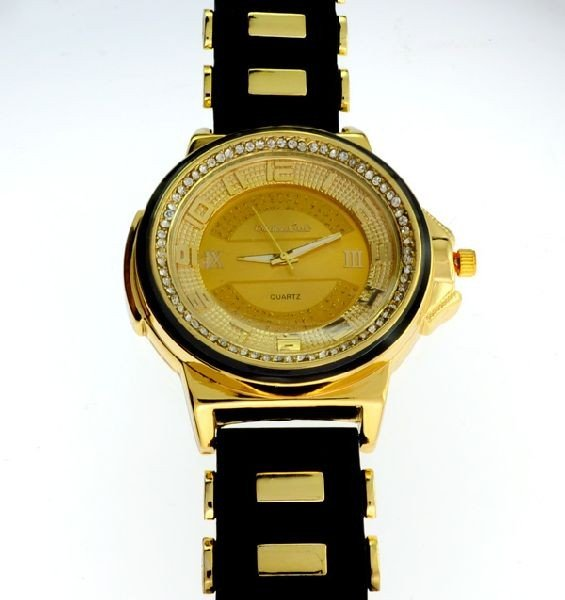 Montres Carlo (Black Band, w/Gold Color) Men's Watch