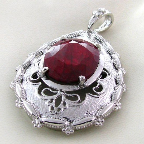 APP: 5.8k 36.15CT Ruby & Sterling Silver Pendant