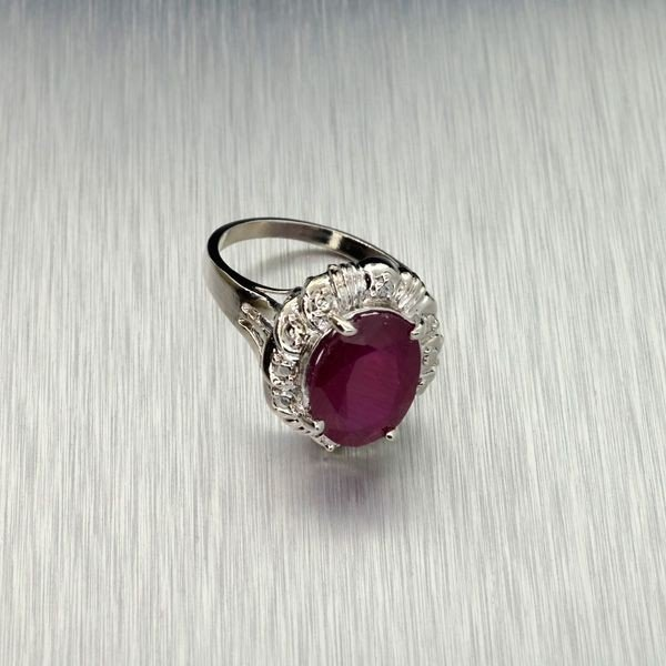 APP: 7.5k 5.34CT Ruby & Sterling Silver Ring