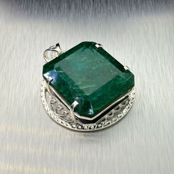 APP: 13k 155.62CT Emerald & Sterling Silver Pendant
