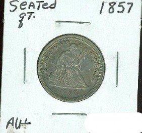 1857 Seated Quarter AU+ -Multi-colored Toning