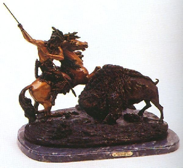 "Reissue ""Buffalo Hunt"" Bronze by Theodore Bau"