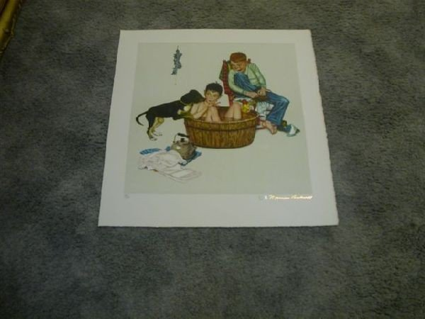 Norman Rockwell Lithograph - Lickin' Good Bath