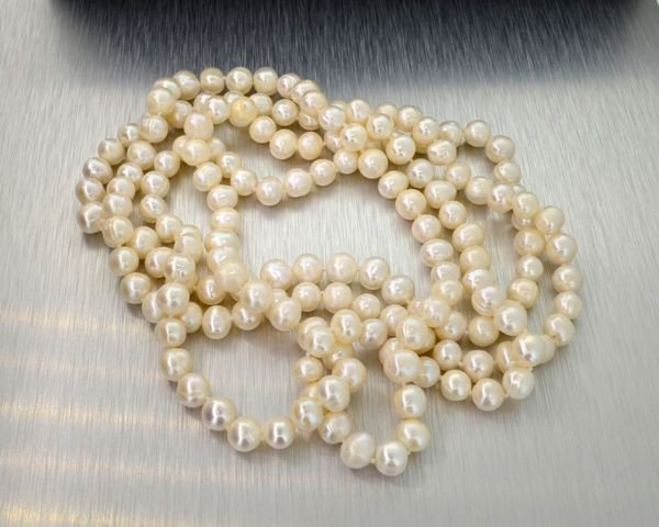 APP: 3k 26'' Pearl Strand w/Sterling Silver Clasp